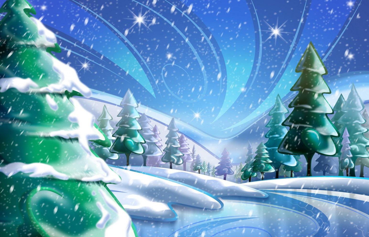 Мультик зимний лес